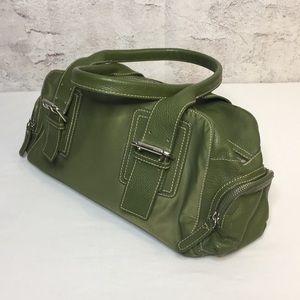 Furla handbag green side zip pockets 7.5 x 13 x 4